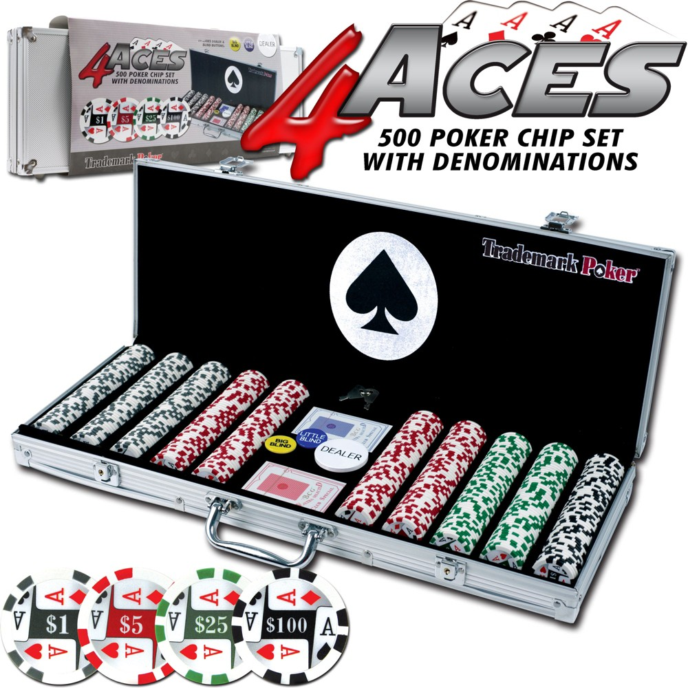 Trademark Poker 4 Aces 500 Chip Set