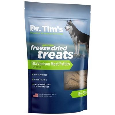 Dr. Tim's Pet Food Freeze Dried Elk/Venison Patties Dog Treats -18oz