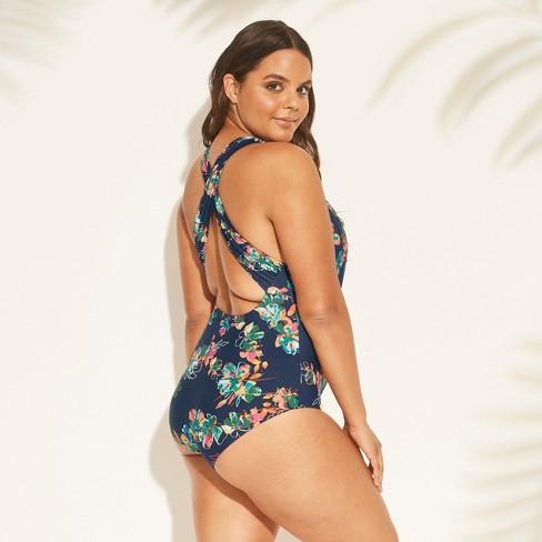 d4e409e64d2 Women s Plus Size Plunge One Piece Swimsuit - Sea Angel Black   Target