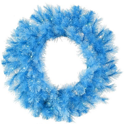 "Vickerman 30"" Prelit Sky Blue Cashmere Artificial Christmas Wreath - Clear Lights"