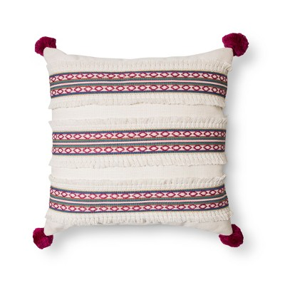 Woven Fringe Vertical Embroidered Pillow with Poms - Xhilaration™