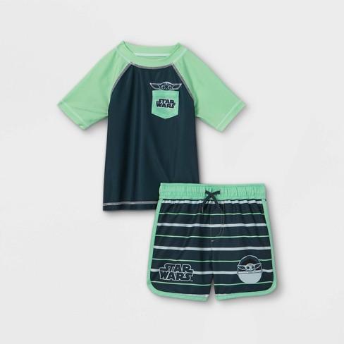 Toddler Boys' Star Wars Baby Yoda Rash Guard Set - Green - image 1 of 2
