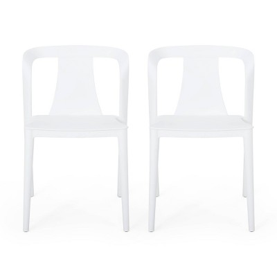 Orchid 2pk Resin Stacking Dining Chair - White - Christopher Knight Home