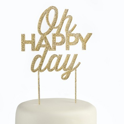 Kate Aspen Gold Glitter Oh Happy Day Acrylic Cake Topper
