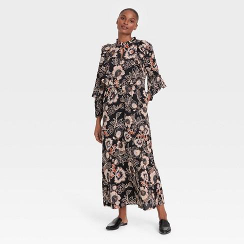 Women's Balloon Long Sleeve Soft Ruffle Dress - Who What Wear™  - image 1 of 3