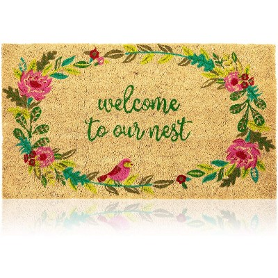 Natural Coir Doormat, Welcome to Our Nest Mat (30 x 17 In)