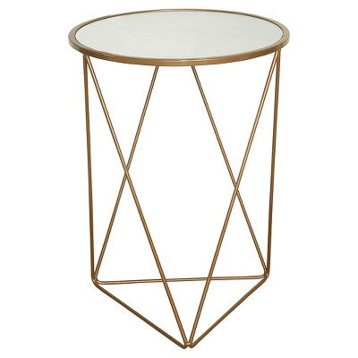 Metal Accent Table Triangle Base with Round Mirror Top - HomePop