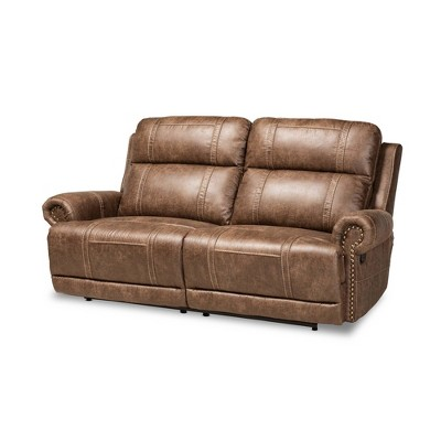 Buckley Faux Leather 2 Seater Reclining Sofa Light Brown - Baxton Studio