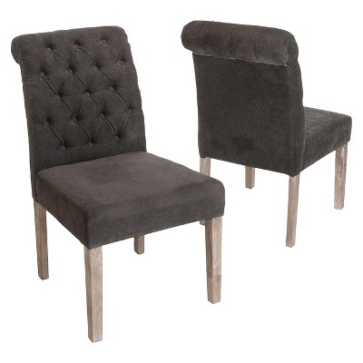 Set of 2 Dinah Roll Top Fabric Dining Chair Charcoal Gray - Christopher Knight Home