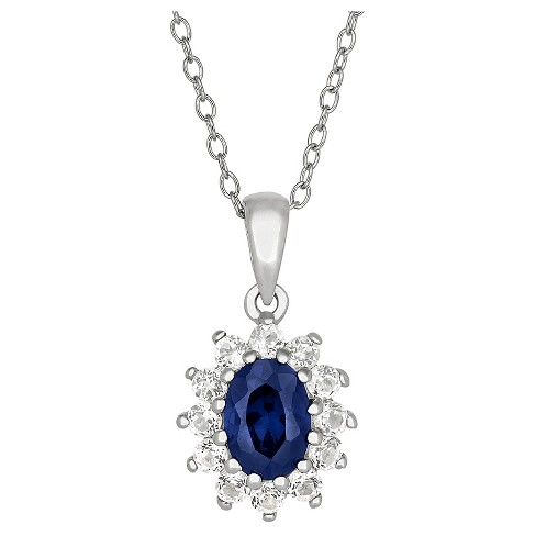 Oval-Cut Sapphire Flower Pendant in Sterling Silver - image 1 of 1