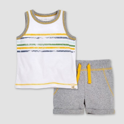 Burt's Bees Baby® Boys' Distressed Stripe Organic Cotton T-Shirt & French Terry Shorts Set - 0-3M