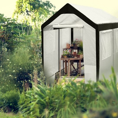 Abba Patio 8 X 10 Foot Walk In Fully Enclosed Lawn And Garden Greenhouse,  White