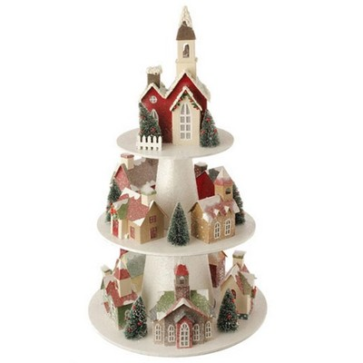 """Raz Imports 26"""" White and Red Pre-Lit 3-Tier Christmas House Display Decor"""