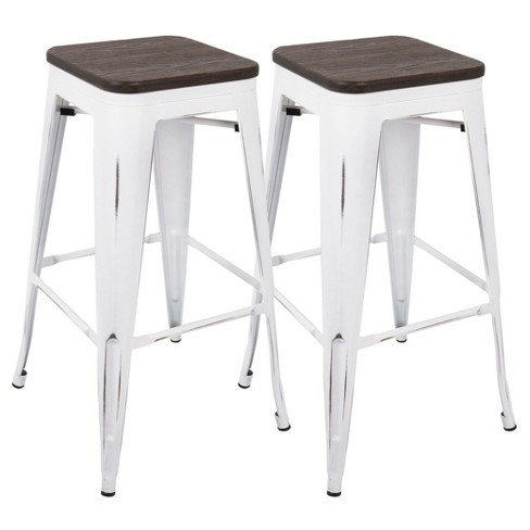 Oregon Industrial Barstool With Vintage White Frame (Set of 2) - Espresso Wood - Lumisource - image 1 of 7