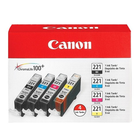 Canon 221 Combo 4pk and Single Ink Cartridges - Black, Cyan, Magenta, Yellow - image 1 of 2