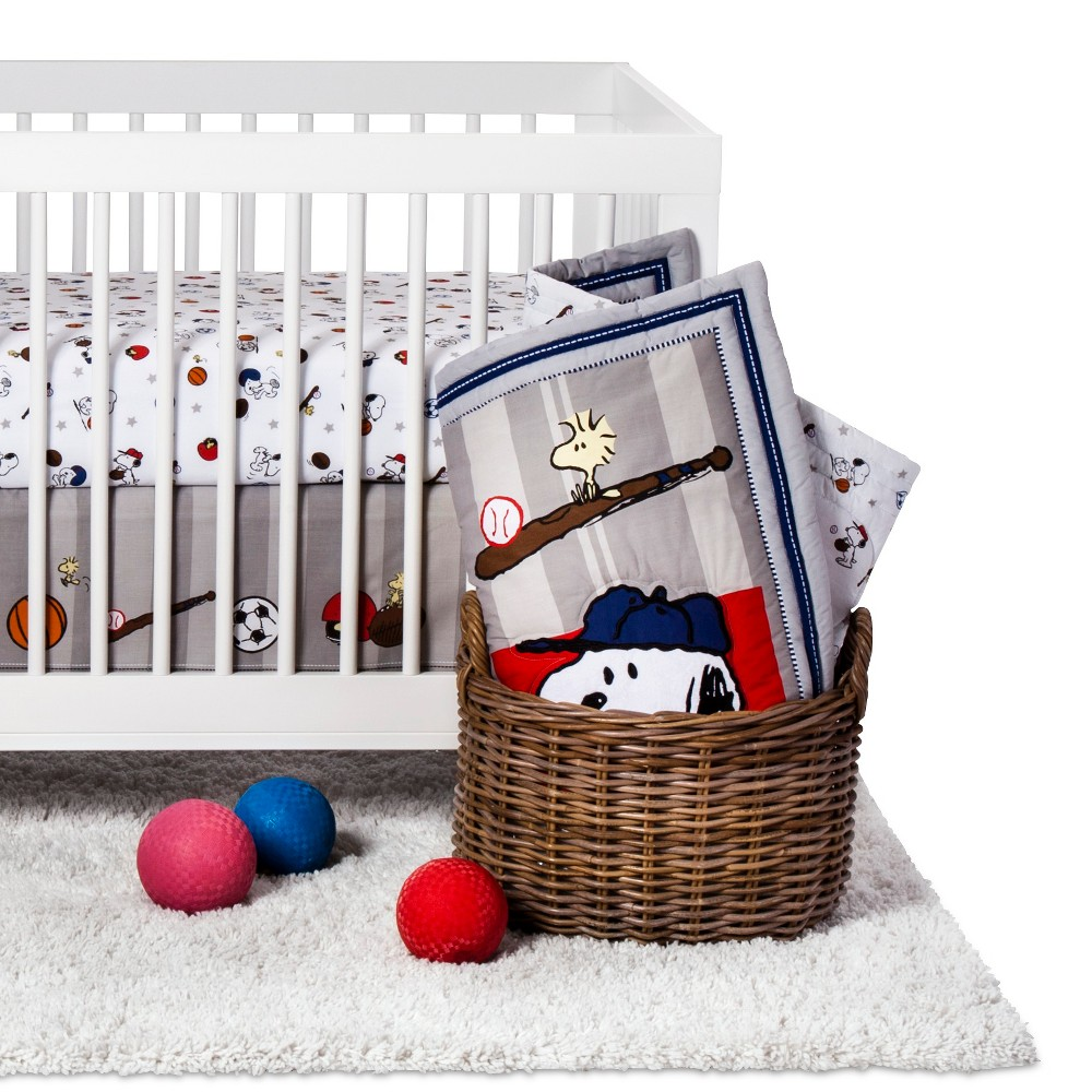 Image of Peanuts 3-Piece Crib Bedding Set - Snoopy Sports
