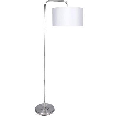 Grandview Gallery 63.75-Inch Tall 100-Watt Modern Contemporary E26 Bulb Arc Floor Lamp with White Silk-Like Fabric Drum Shade, Brushed Nickel