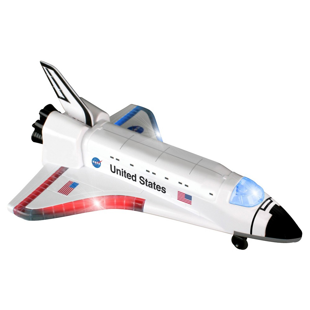 Daron Radio Control Space Shuttle with Lights and Sound Radio Control Space Shuttle with lights and sound featuring the NASA symbol and the United States Flag. R/C with lights and sounds. Plane goes forward and backwards on the ground. Requires 6 AA batteries. Gender: unisex.