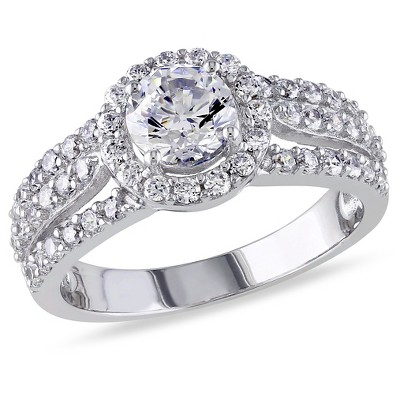 Round White Cubic Zirconia Bridal Ring in Sterling Silver