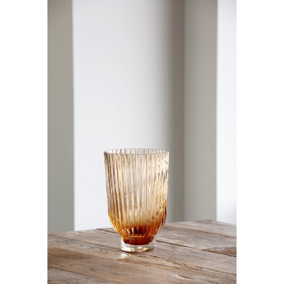 Park Hill Collection Melon Glass Vase With Clear Base, Medium
