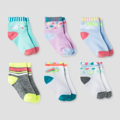 Baby Girls' Low Cut Dress Socks 6pk - Cat & Jack™ Blue 6-12M