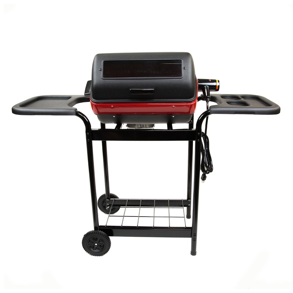 Easy Street Electric Cart Grill with Polymer Side Tables and Shelf 9359W5.181, Black 52716094