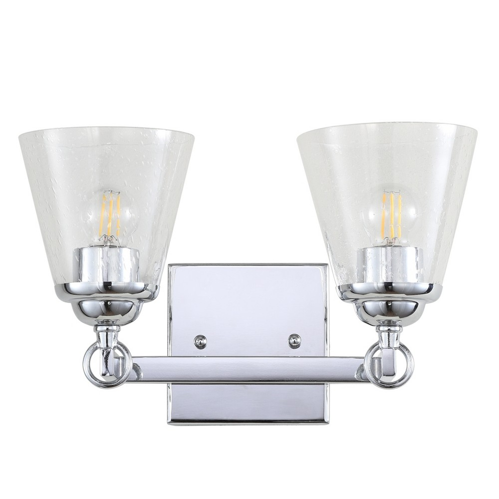 "Image of ""12.75"""" Marion 2 Light Hurricane Metal/Glass Vanity Wall Light Chrome - JONATHAN Y, Size: 12.5"""" 2 Lights"""