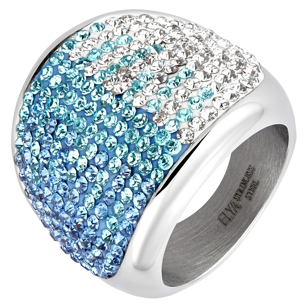 Elya Stainless Steel Colored Crystal Cocktail Ring (8), Blue Silver White