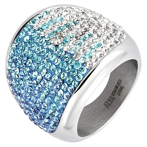 ELYA Stainless Steel Colored Crystal Cocktail Ring - image 1 of 2