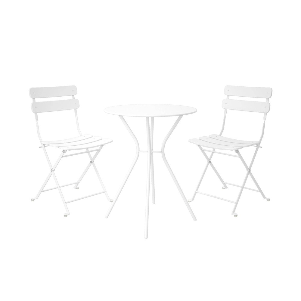 Image of Cosco 3pc Bistro Set with 2 Folding Chairs - White