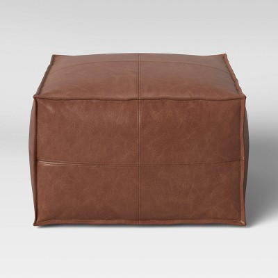 Oversize Pouf Earl Faux Leather French Seam Ottoman Caramel - Project 62™