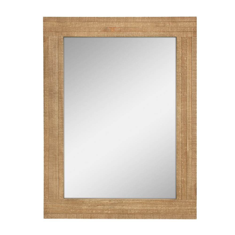 Image of Rectangle Worn Wood Mirror Brown 24 x 18 - Stonebriar Collection