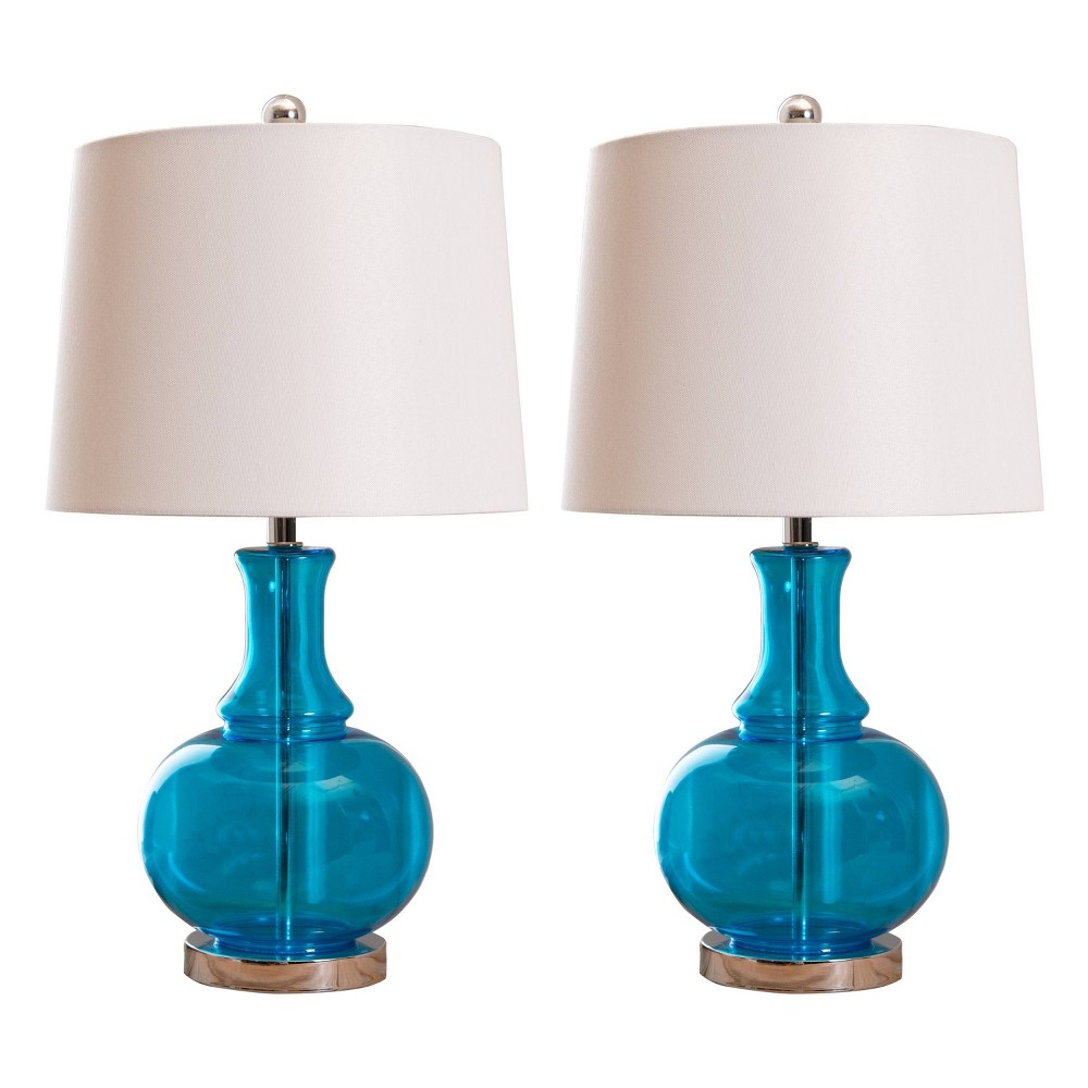 Felicia Set of 2 Glass Table Lamps Turquoise (Lamp Only)- Abbyson Living