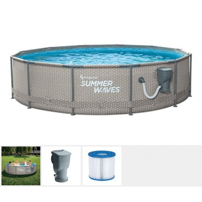 Summer Waves Active Metal Frame 12 Foot x 33 Inch Round Above Ground Swimming Pool Set with Filter Pump and Type D Filter Cartridge, Gray Rattan
