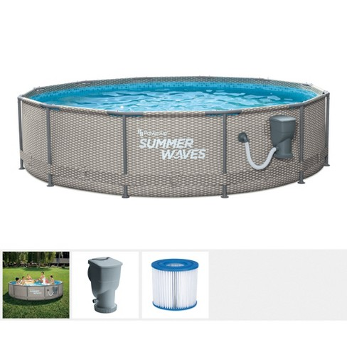 Summer Waves Active Metal Frame 12 Foot x 33 Inch Round Above Ground Swimming Pool Set with Filter Pump and Type D Filter Cartridge, Gray Rattan - image 1 of 4