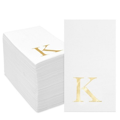 Sparkle and Bash 100 Pack Gold Foil Initial Letter K White Monogram Paper Napkins for Dinner Party, 4 x 8 In