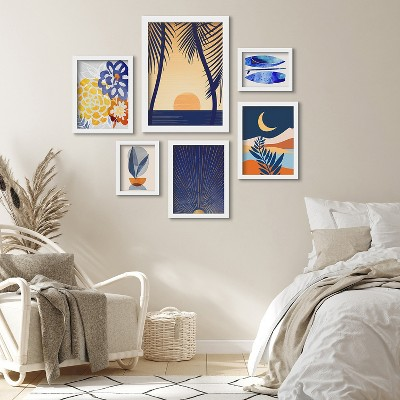 Americanflat Golden Sunset With Palms by Modern Tropical 6 Piece Framed Gallery Wall Art Set