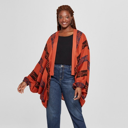 Women's Plus Size Woven Patterned Cocoon Cardigan - Universal Thread™ Rust - image 1 of 2