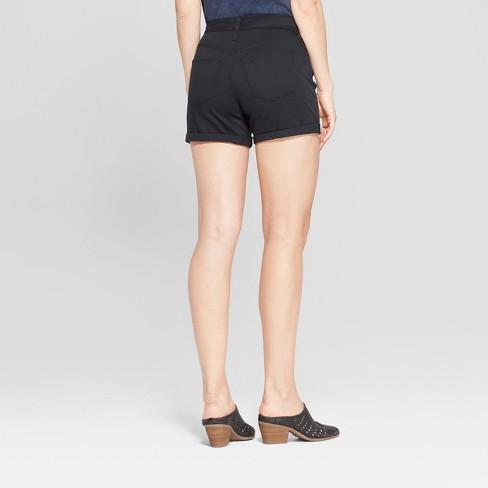 d8496147ca2 Women's High-Rise Double Cuff Midi Jean Shorts - Universal Thread™ Black