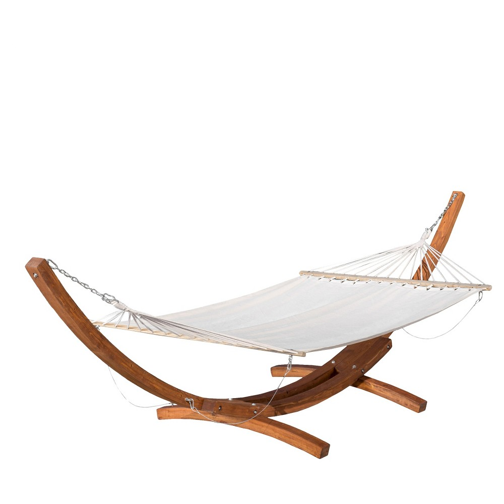 Grand Cayman Patio Hammock - Teak and Canvas - Christopher Knight Home