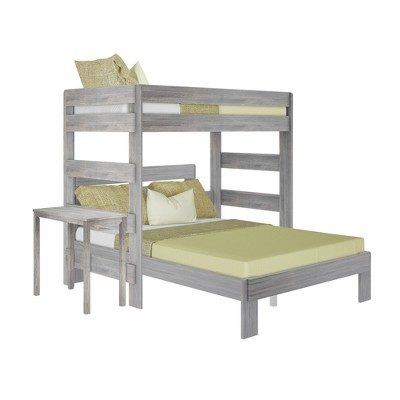 Max & Lily Farmhouse Twin over Queen L Shape Bunk Bed with Desk