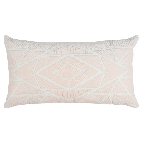 Rizzy Home Geometric Throw Pillow Pink - image 1 of 2