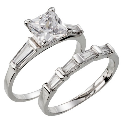 Silver Plated Square Cut Cubic Zirconia with Tapered Baguettes Wedding Ring Set - Size 8 - image 1 of 1