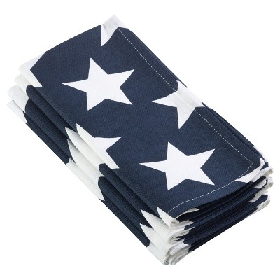 4pk Navy Blue Star Spangled Design Napkin 20  - Saro Lifestyle®