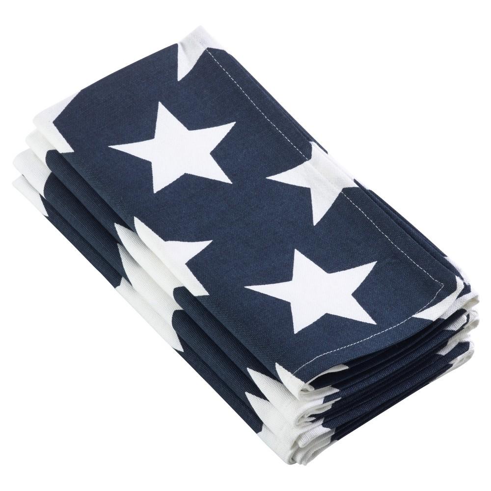 4pk Navy Blue Star Spangled Design Napkin 20 - Saro Lifestyle