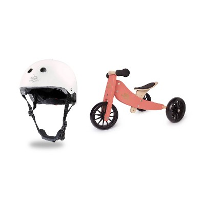 Kinderfeets White Adjustable Toddler and Kids Bike Helmet Bundle with Kinderfeets Coral Tiny Tot PLUS 2-in-1 Balance Trike Tricycle
