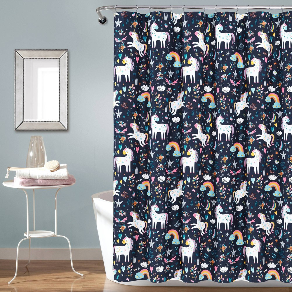 "Image of ""72""""x72"""" Unicorn Heart Shower Curtain Navy - Lush Décor, Blue"""