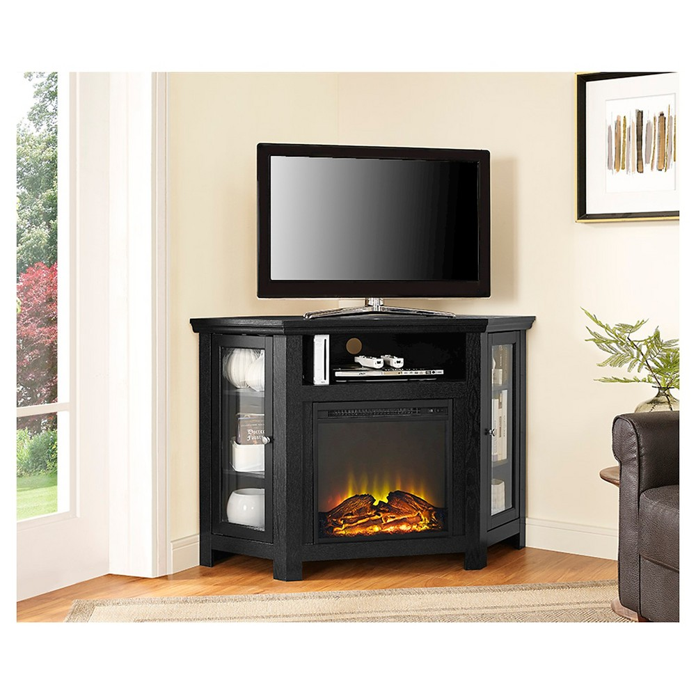 "Image of ""48"""" Wood Corner Fireplace Media TV Stand Console Black - Saracina Home"""