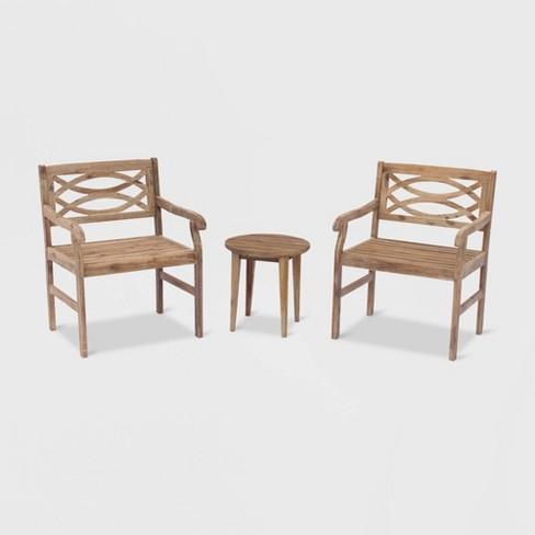 Sensational Fontana 3Pc Acacia Outdoor Cafe Set Taupe Brown Courtyard Casual Cjindustries Chair Design For Home Cjindustriesco