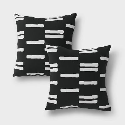 2pk Stripe Outdoor Throw Pillows DuraSeason Fabric™ Black/White - Project 62™